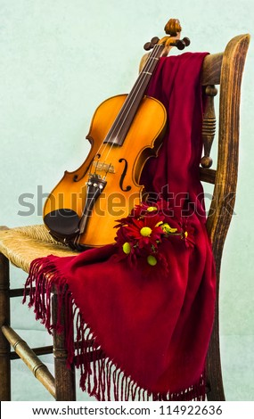 Violin and Daisies - stock photo