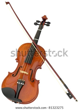 Violin and fiddle stick isolated with clipping path - stock photo