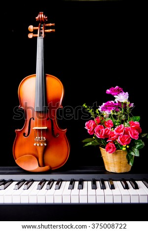 Violin and flower on the piano on a black background - stock photo