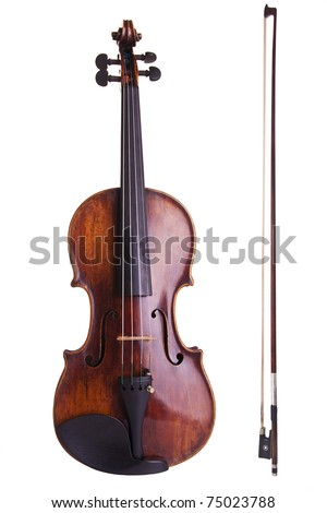 violin bow music string art instrument old baroque - stock photo