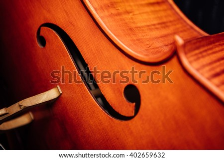 violin closeup with details on rustic background - stock photo