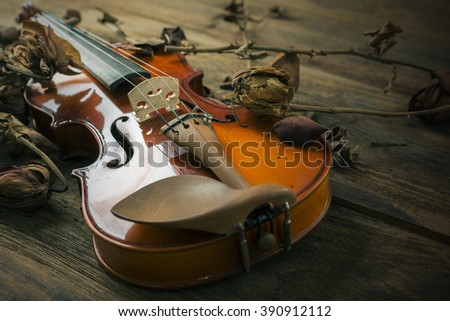 Violin in vintage style on wood background ,The concept of romance, love and music