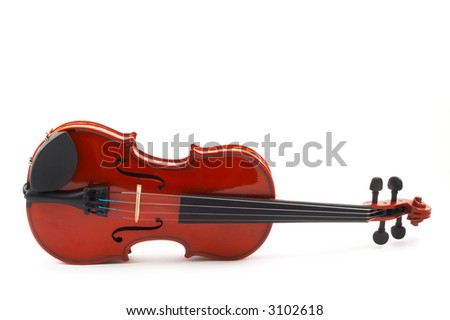 Violin lying down on side, white background, full front view, horizontal, landscape orientation - stock photo