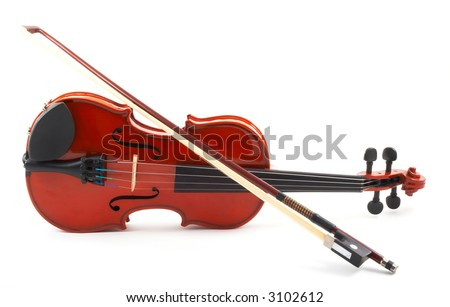 Violin lying down on side, white background, full front view with bow, horizontal, landscape orientation - stock photo