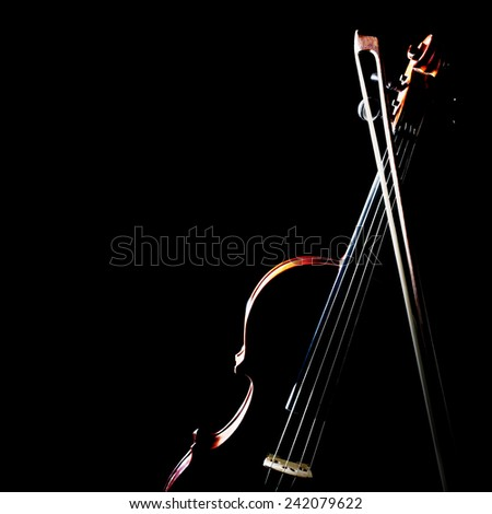 Violin music instrument of orchestra with bow isolated on black  - stock photo