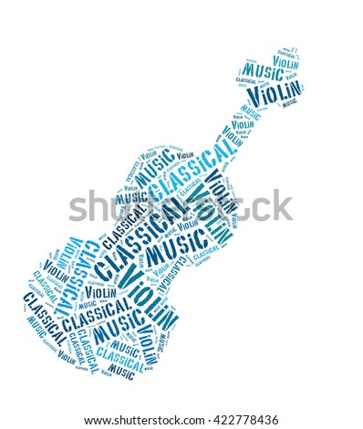 violin music word cloud sharp design