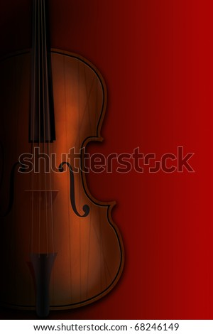 Violin on a red background in a shade