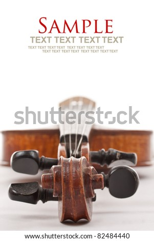 Violin on white background with text space - stock photo