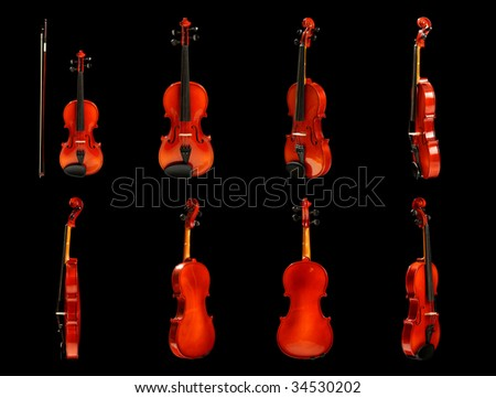 Violin on white, variants of a kind - stock photo