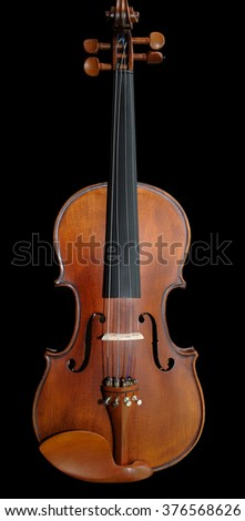 Violin orchestra musical instruments isolated on black. Classical music instrument - stock photo