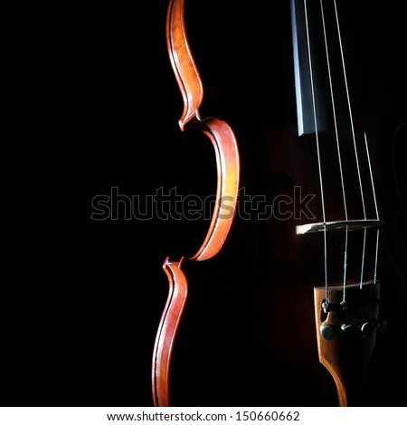 Violin orchestra musical instruments. Silhouette string closeup on black - stock photo