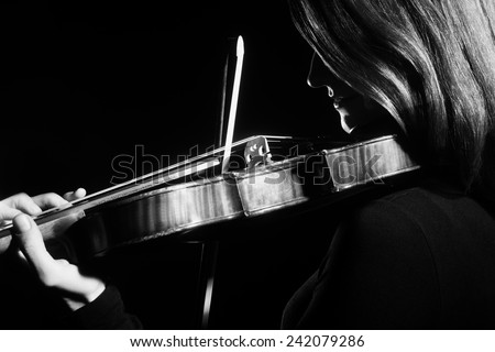 Violin player violinist Music instrument of orchestra Playing violin classic - stock photo