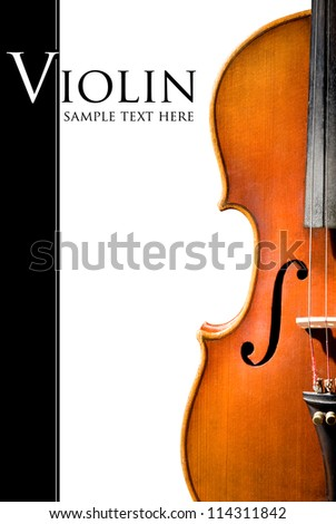 Violin shape. Space for text isolated on white - stock photo