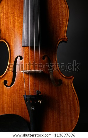 violin with black background - stock photo