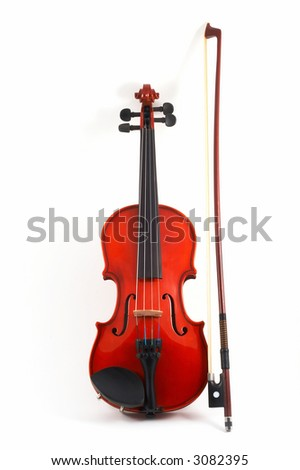 Violin with bow upright on white background, front view, portrait orientation - stock photo