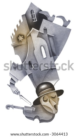 Violinist and synagogue. Sepia version. Illustration by Eugene Ivanov. - stock photo