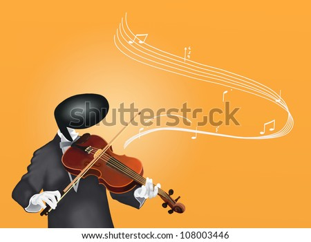 Violinist Man playing Violin with Musical Notes and Sound Waves - stock photo