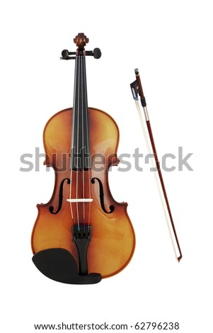 violins and a fiddlestick under the white background - stock photo