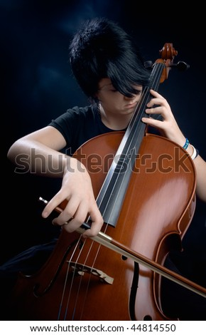 violoncello and girl - stock photo