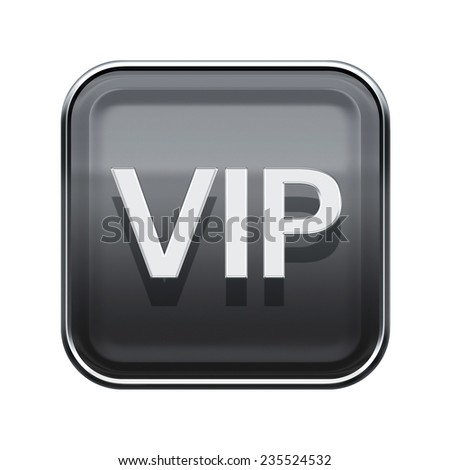 VIP icon glossy grey, isolated on white background - stock photo