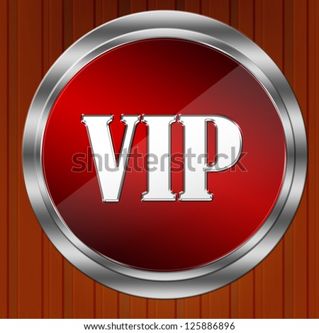 Vip icon on wood background - stock photo