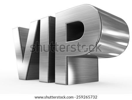 VIP metal - 3d letters isolated on white, side view