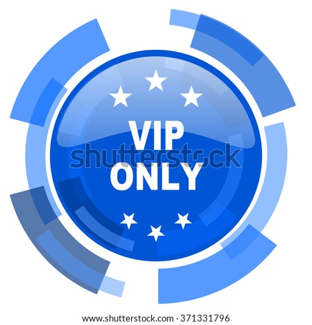 vip only blue glossy circle modern web icon