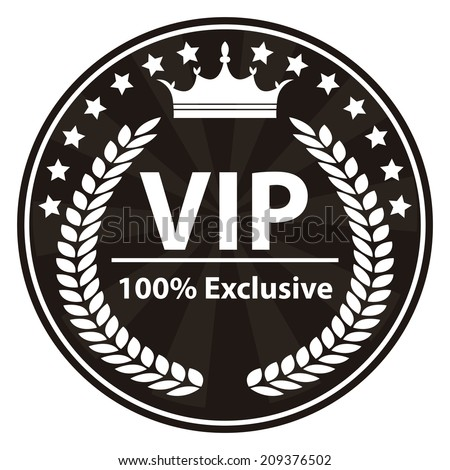 VIP 100 Percent Exclusive Sign on Black and White Vintage, Retro Stamp, Icon, Button, Label Isolated on White - stock photo