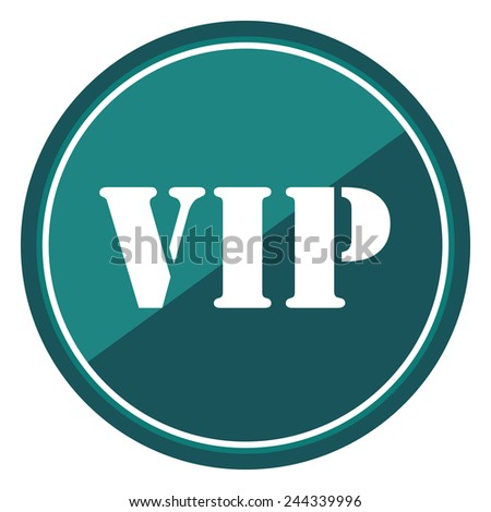 VIP sign on blue circle icon, button, label isolated on white  - stock photo