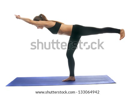 Virabhadrasana 3, a position in Yoga, is also called Warrior Pose isolated on white background