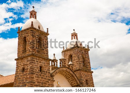 Viracocha Temple, Cusco region, Peru (Ruin of Temple of Wiracocha) at Chacha,South America - stock photo