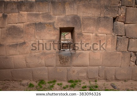 Viracocha temple, sacred Valley, Peru. Particularly of the wall
