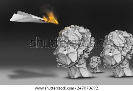 Viral communication marketing and propoganda concept as a paper plane burning in flames as an audience group of human heads made of crumpled office papers. - stock photo