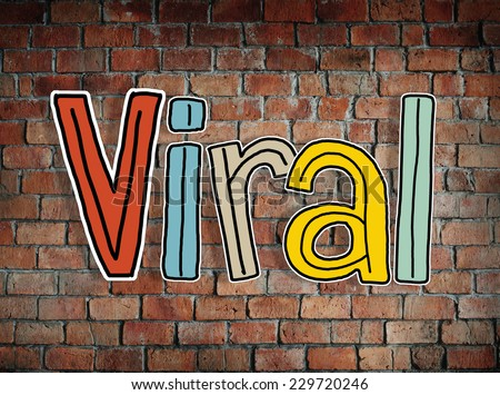 Viral word and Brick Wall in the Background - stock photo