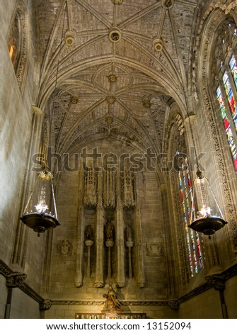 Virgen del Camino chapel of Santa Maria de Leon Cathedral. Leon. Castilla y Leon, Spain - stock photo