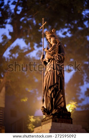 Virgin Mary in front of Saint Joseph cathedral,Hanoi,Vietnam - stock photo