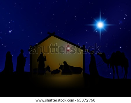 Virgin Mary,  Joseph and Jesus with the magician kings - stock photo