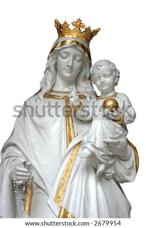 Virgin Mary (Mother Mary) with Baby Jesus - isolated in white with clipping path - stock photo