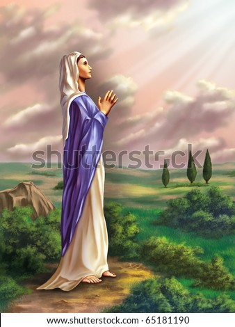 Virgin Mary praying in a beautiful country landscape. Original digital illustration. - stock photo