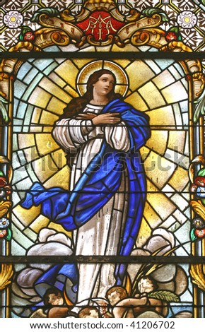 Virgin Mary, stained glass - stock photo