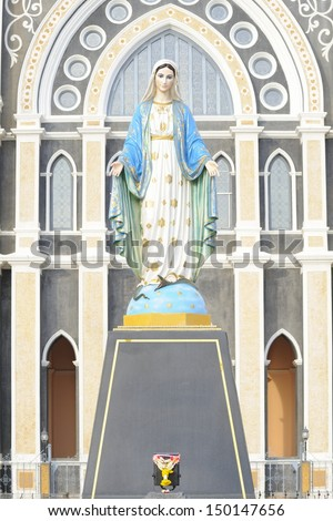 Virgin Mary Statue in Roman Catholic Church place belief of community Chanthaburi, Thailand. - stock photo