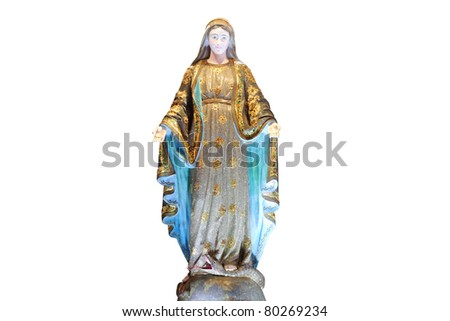 Virgin Mary statue on white - stock photo