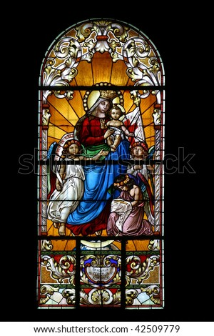 Virgin Mary with baby Jesus and angels - stock photo