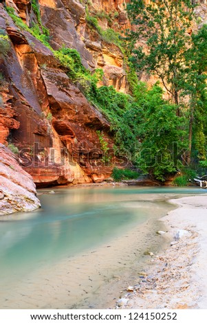 Virgin River in Zion national parc, Utah, Southwest, USA - stock photo