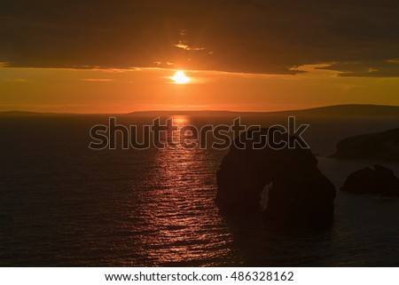 virgin rock sunset on the coastline of ballybunion county kerry ireland