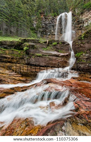 Virginia Falls in Glacier National Park, Montana - stock photo