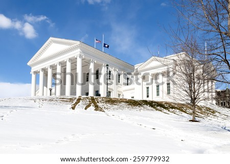 Virginia State Capitol - Richmond in the Snow - stock photo