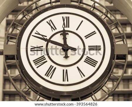 VIRGINIA, USA - MARCH 4, 2008: clock face roman numerals - stock photo