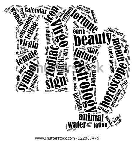Virgo zodiac info-text graphics composed in Virgo zodiac sign shape on white background - stock photo