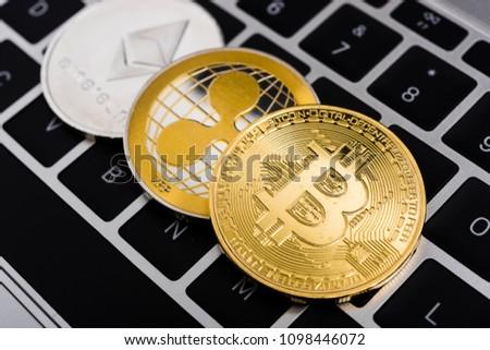 stock-photo-virtual-bitcoin-ripple-xrp-a